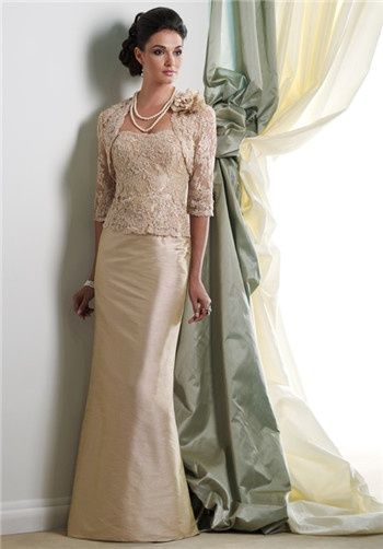 Elegant.  Change  lace shrug for fur for a winter wedding... maybe not.