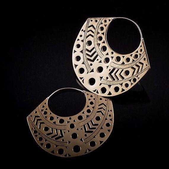 Aztec boucles d'oreilles, boucles d'oreilles en laiton, laiton tribal, tribalik boucles d'oreilles (code 116)
