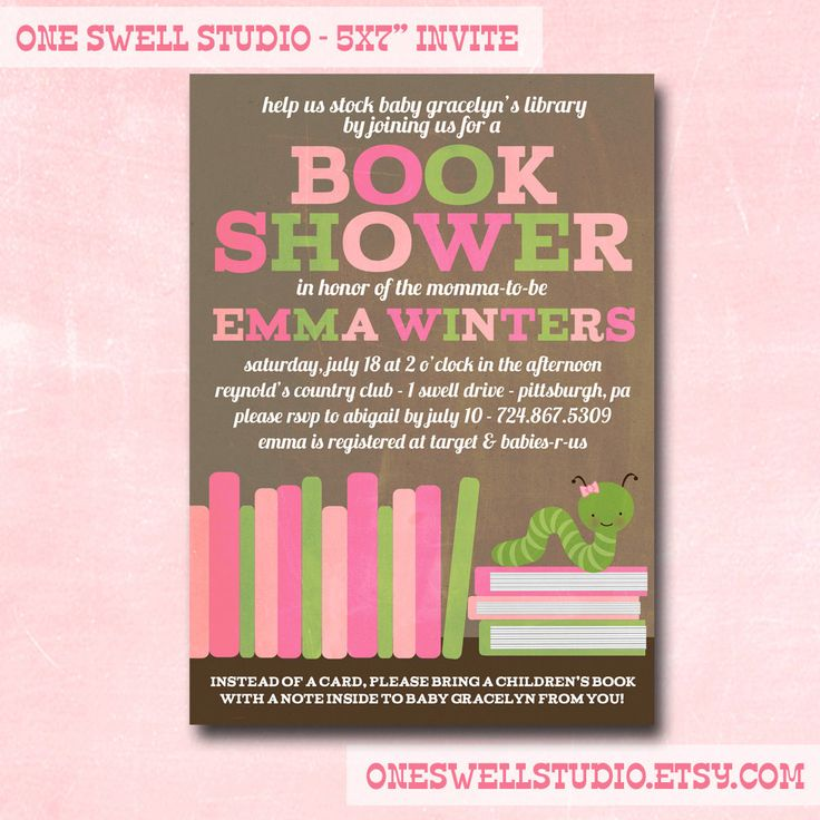 recipe themed bridal shower invitation wording%0A Booked themed baby shower invitations are available at Boardman Printing
