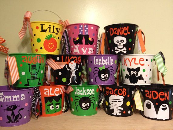 Halloween bucket: Personalized halloween trick or treat metal bucket, 5 quart pail on Etsy, $23.27 CAD
