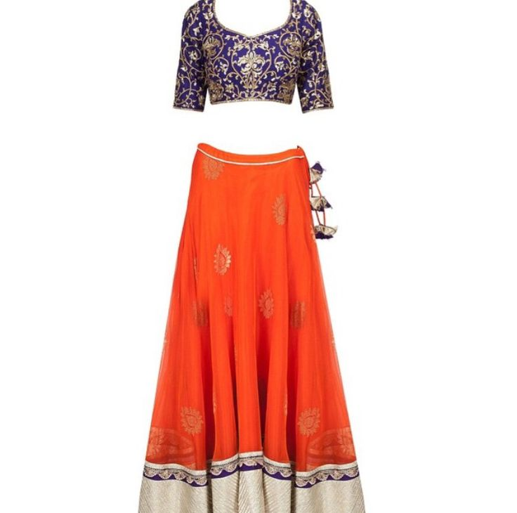 A gorgeous color combination and design for a sangeet/mehndi outfit!
