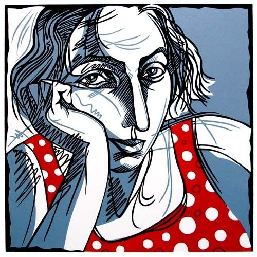 Red Polka Dot Dress linocut by Winged Lion, via Etsy.