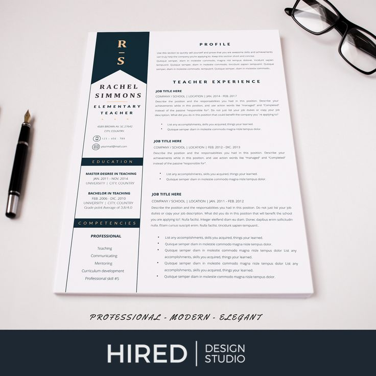 Elementary Teacher Resume Template for Word & Pages