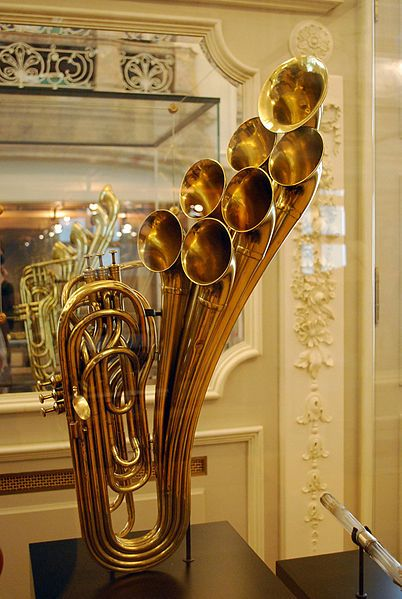 Antique brass instrument on display at the Musical Instrument Museum in Brussels, Belgium. I wonder what it sounded like & can it still be played?
