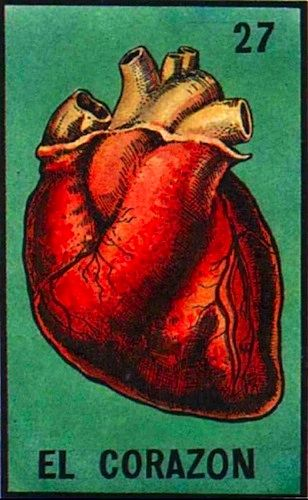 """Traditional Mexican card deck """"La Loteria"""" 27 - El Corazon, The Heart. Playing…"""