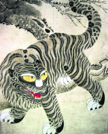 Thorang-i: The tiger as a protecting power. Korea: Joseon dynasty, the Musee Guimet. in the Joseon age, Korea appears to have emerged from the shadow of China and established an identity of its own.  Korean painting included a range of animals, each one a symbol.  The tiger, a compassionate guardian that protected humans. Usually depicted as a gentle creature, the underlying belief was that it was a fearless and valiant animal that would prevent misfortunes and chase away evil spells.