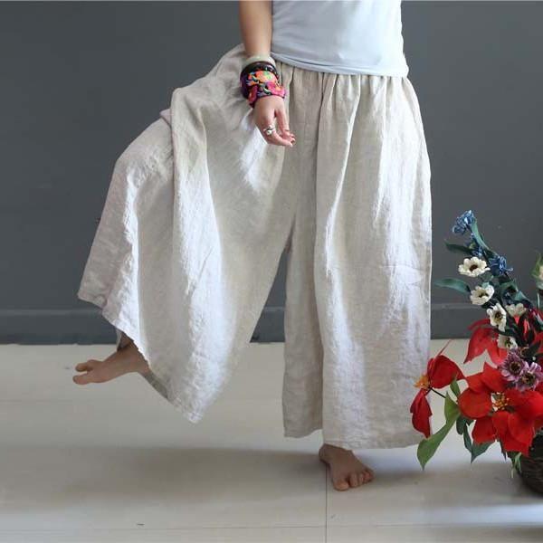 Wide Leg Cotton Linen Pants
