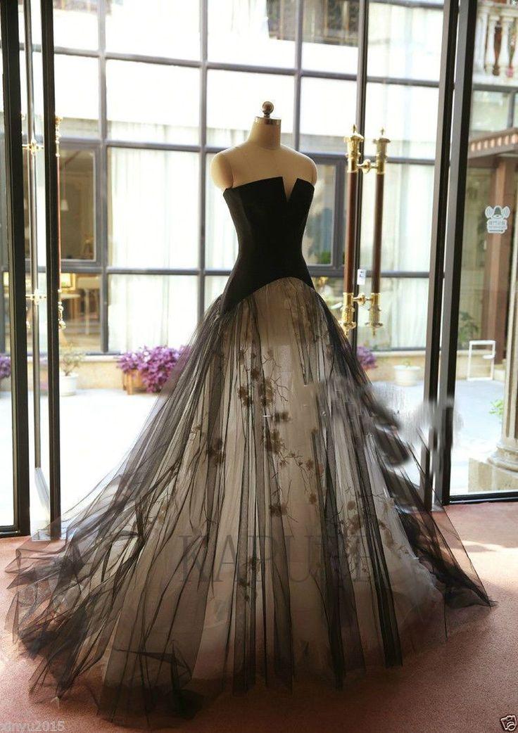 New Black Vintage Formal Bridal Gowns Long Wedding Dresses Custom size | eBay