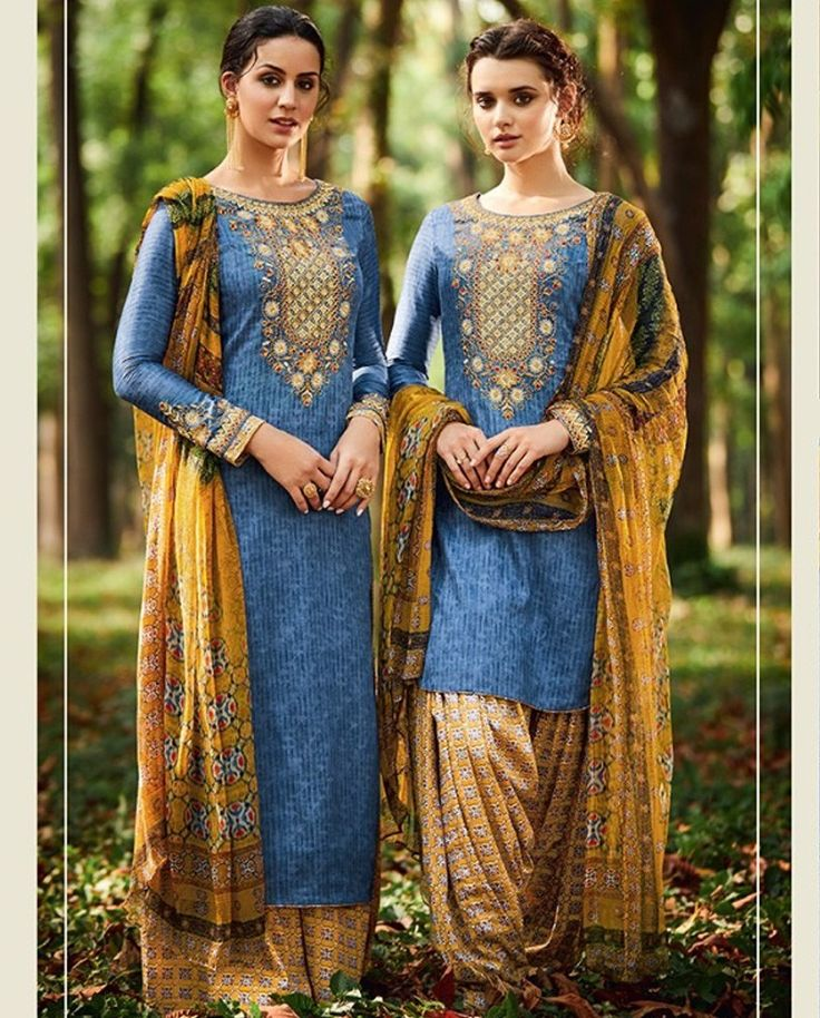 1. Blue pure cotton satin suit 2. Floral thread embroidery work at neck and sleeves 3. Comes with a matching bottom and Bamberg chiffon dupatta 4. Can be stitched upto bust size 42 inches