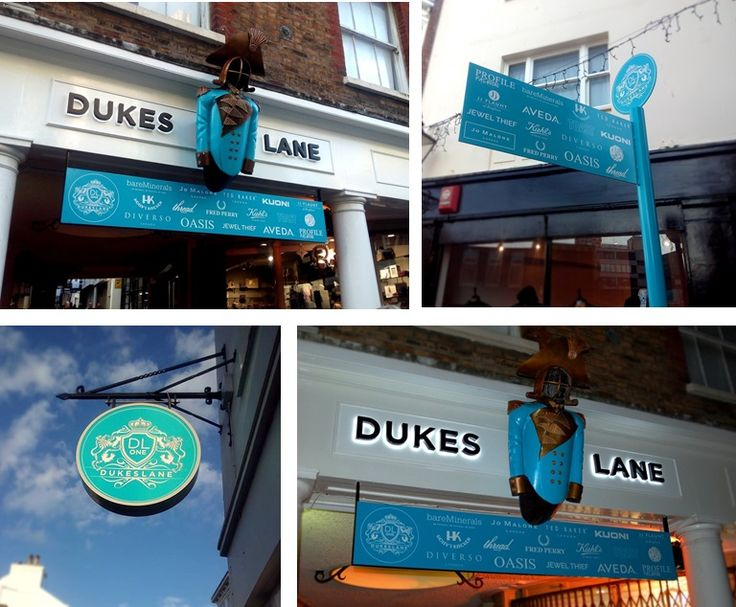 Dukes Lane halo LED illuminated fascia and projection signs manufactured by The Sussex Sign Company