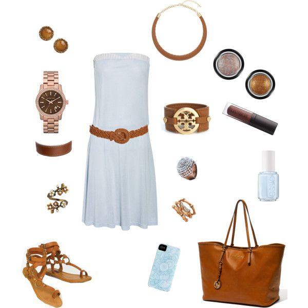 Light Blue Belted Strapless Dress :)