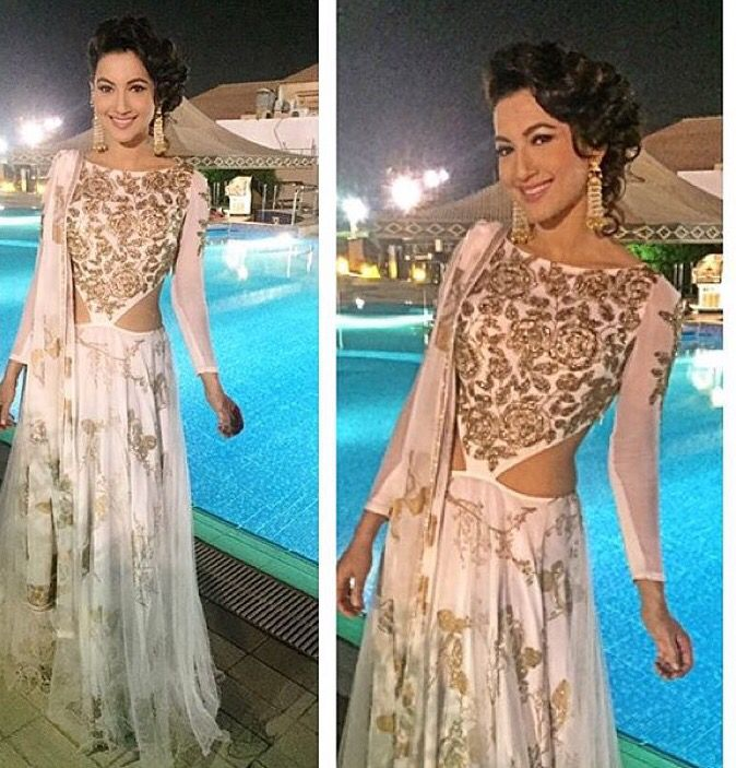 Sukriti Akriti # Gauhar Khan # Indian fusion suit # fashion