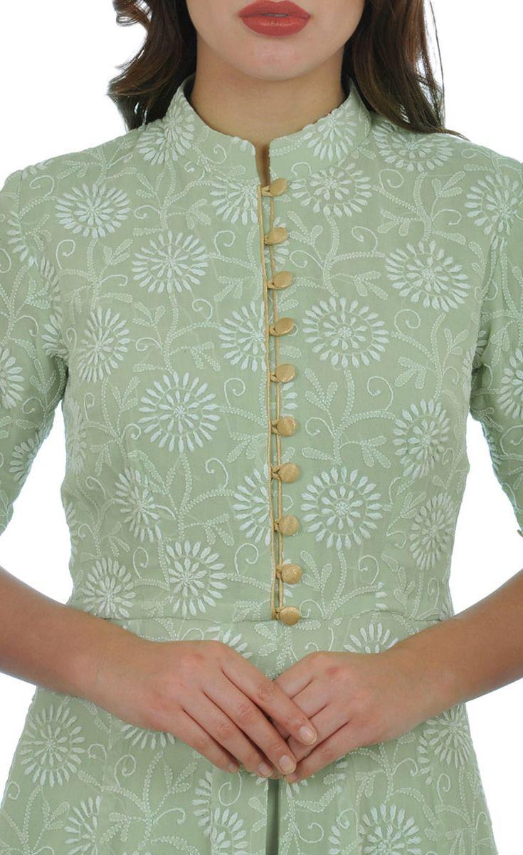 Sage Green Hand Embroidered Chikankari Kalidaar and Pants