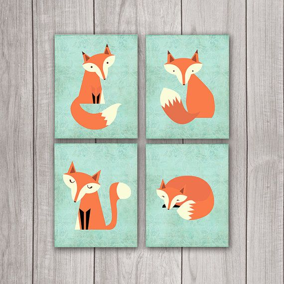 50% OFF SALE Fox Nursery Decor (Set of 4) - 8x10 Nursery Art, Nursery Decor, Woodland Nursery, Nursery Wall Decor
