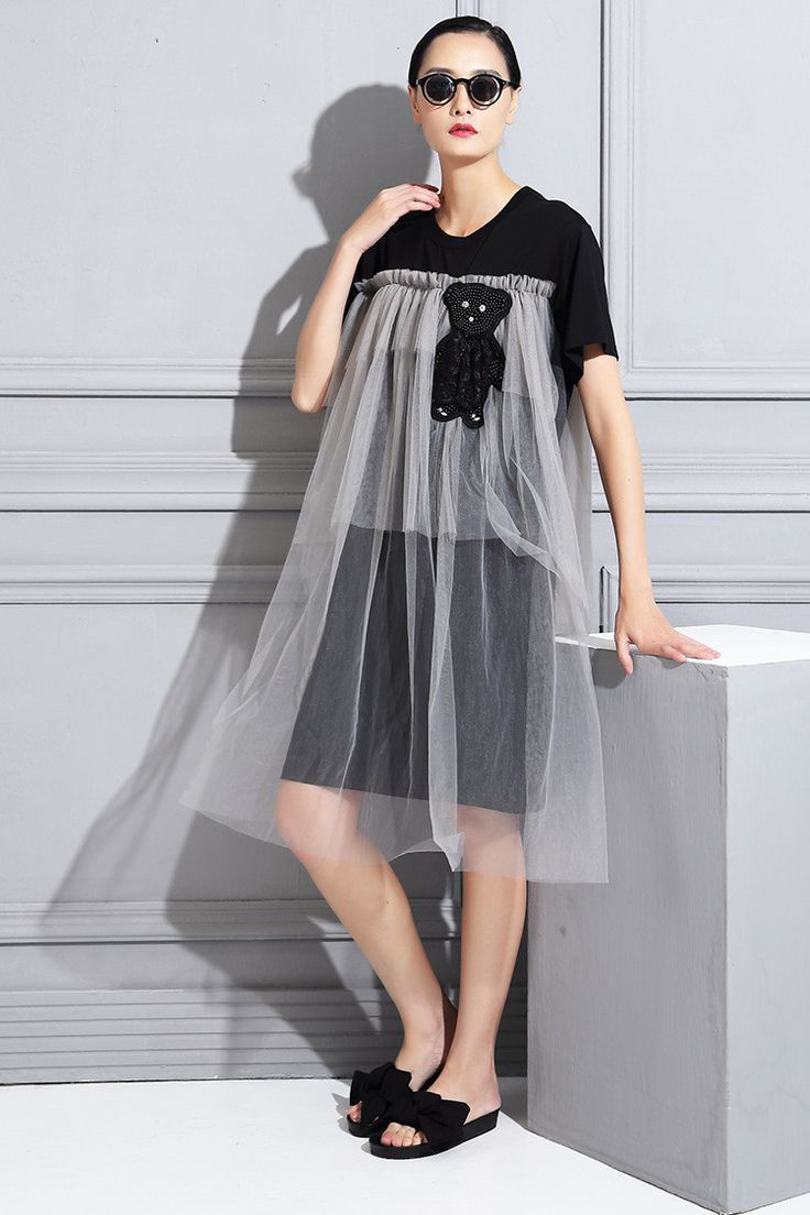 [XITAO] fashion new Stylish Europen collage little bear medium long with lotus leaf fake two pieces female dress, SS-021