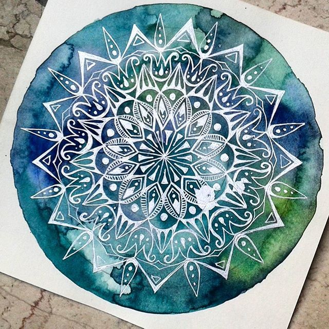 LOVE the colors and how the white mandala reverses out of the watercolor.