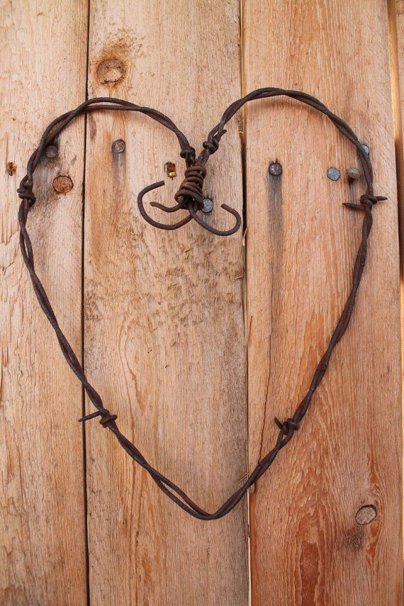 handmade rusted barbed wire heart wall decor by jackrabbitflats, $9.00