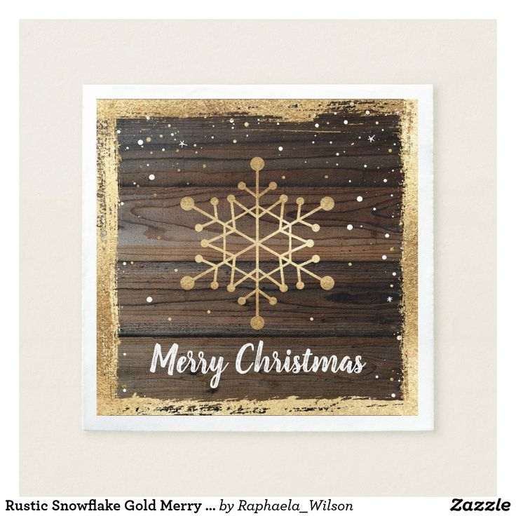 company christmas party invitation templates%0A Rustic Snowflake Gold Merry Christmas Party Paper Napkin