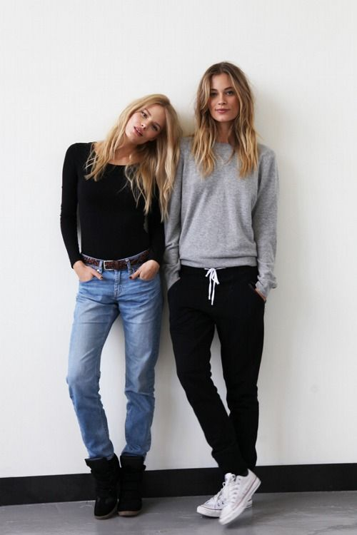 1. I need to own long-sleeved shirts - why do I never own long-sleeved shirts? 2. I like the slouchy sweater, and how it falls on her. Don't know how I feel about the sweats - it seems dressed a little too far down. Maybe if they were paired with casual heels and more polished hair/makeup: