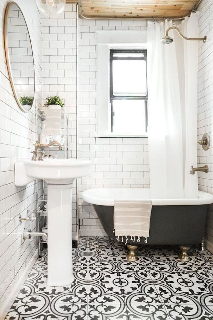 blue and white tile floor, pedestal sink, subway tile