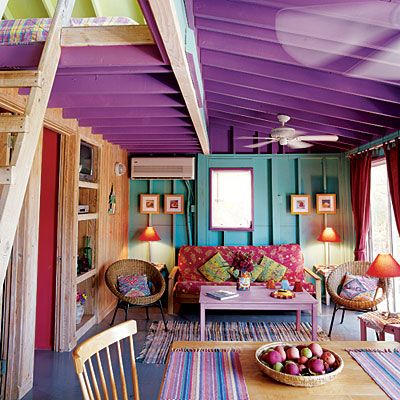 where else can you experiment with crazy awesome paint colors than a beach house?: Color Rooms, Colour, Spaces, Living Rooms, Idea, Beaches House, Purple Ceilings, Bright Color, Places