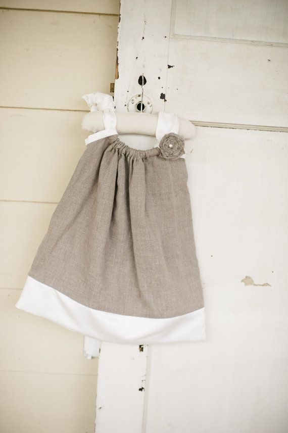 Newborn to 24 Months- Linen and Satin Pillowcase Dress- Flower girl dress- Special Occasion Dress on Etsy, $50.00