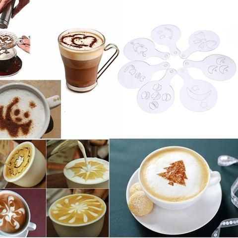 16PCS Coffee Barista Tools Coffee Milk Cake Cupcake Stencil Template Mold C