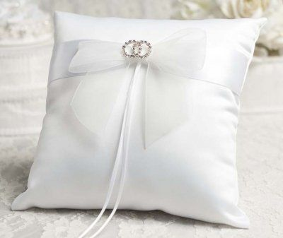 This Elegant Wedding Ring Bearer Pillow Features An Organza Bow With A Pair Of Entwined Rhinestone Rings Is Made Satin