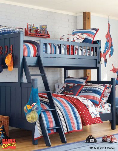 Pinned this because I like the idea of choosing bedding to match the colors of the superhero, with other accents around the room with the actual superhero. Saves money b/c you don't have to buy the licensed sets, which are more expensive.