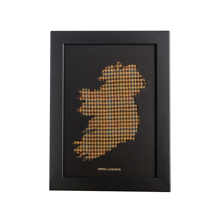 """Donegal Houndstooth"" - Map of #Ireland with luxurious Donegal #tweed underlay. Designed and handmade in Ireland."