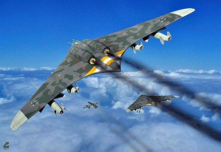 "Horten Ho 229 - The design was a response to Hermann Göring's call for light bomber designs capable of meeting the ""3×1000"" requirement; namely to carry 1,000 kilograms (2,200 lb) of bombs a distance of 1,000 kilometres (620 mi) with a speed of 1,000 kilometres per hour (620 mph). Only jets could provide the speed, but these were extremely fuel-hungry, so considerable effort had to be made to meet the range requirement. Based on a flying wing, the Ho 229 lacked all extraneous control…"