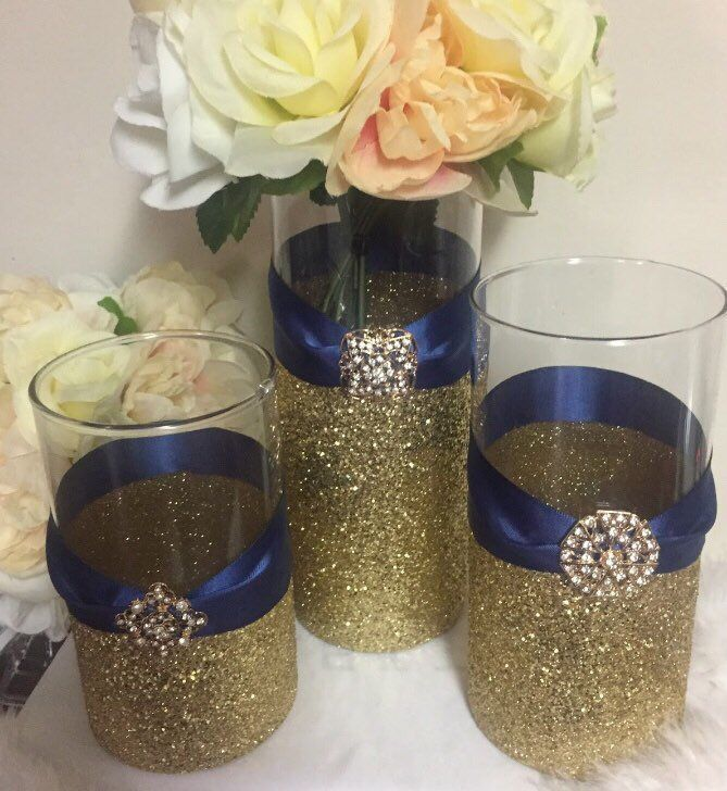 Wedding Centerpiece 1 Gold Glitter Vase Navy Blue Wedding