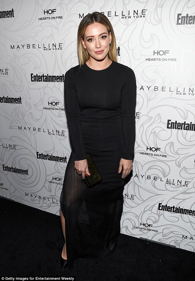 Legs eleven! Hilary Duff flashed some skin in her dress with a thigh-high slit ...
