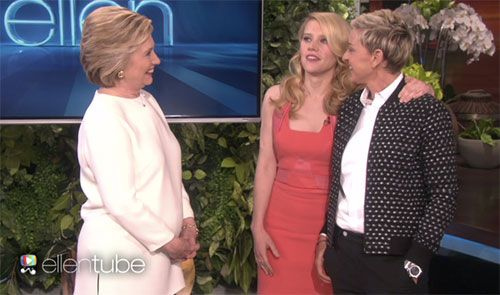 Kate McKinnon, Ellen DeGeneres & Hillary Clinton