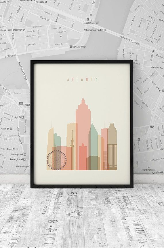 Atlanta skyline, Print, Printable Poster, Wall Art, Georgia cityscape, wall decor, City poster, Art, digital poster print, INSTANT DOWNLOAD.