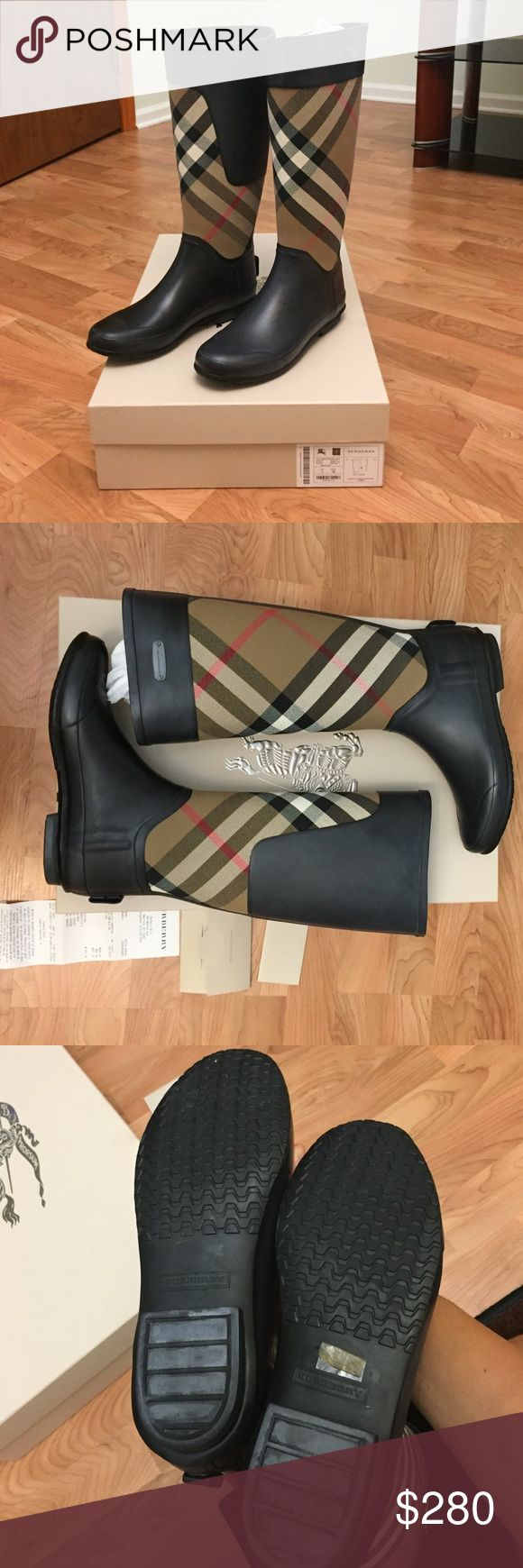 Burberry Clemence rain boots size Eur 38 Been worn only once! 55% rubber, 45% cotton.Imported.Burberry has created this product using high quality natural rubber. To clean, wipe with a damp cloth or wash with lukewarm, soapy water. Do not use solvents. Over time there may be a release of protective wax, leaving a fine white deposit. This is normal and does not affect the quality of the boots. To remove, please wipe boots with a damp cloth.Store out of direct sunlight in a cool, dry location…