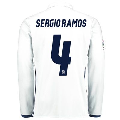 Image of Real Madrid Home Jersey 2016/17 - Long sleeve - with Sergio Ramos 4 pr