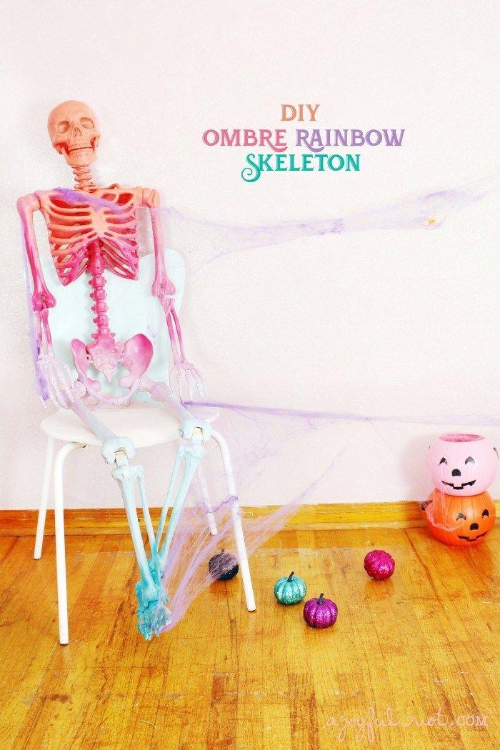 DIY Ombre Rainbow Skeleton in 2020 Rainbow halloween