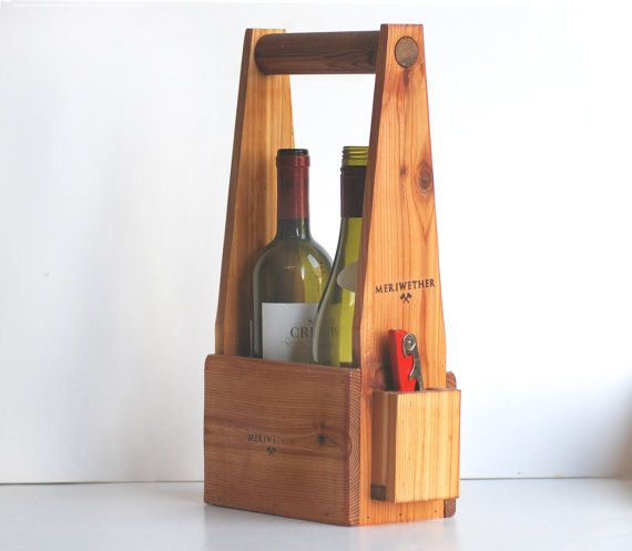 Handcrafted Two Bottle Wine Carrier by MeriwetherOfMontana on Etsy