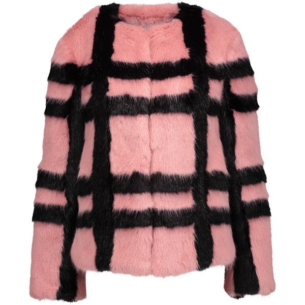 Shrimps Gustav checked faux fur coat (£297) ❤ liked on Polyvore featuring outerwear, coats, antique rose, checkered coat, faux fur coat, rose coat, checked coat and imitation fur coats