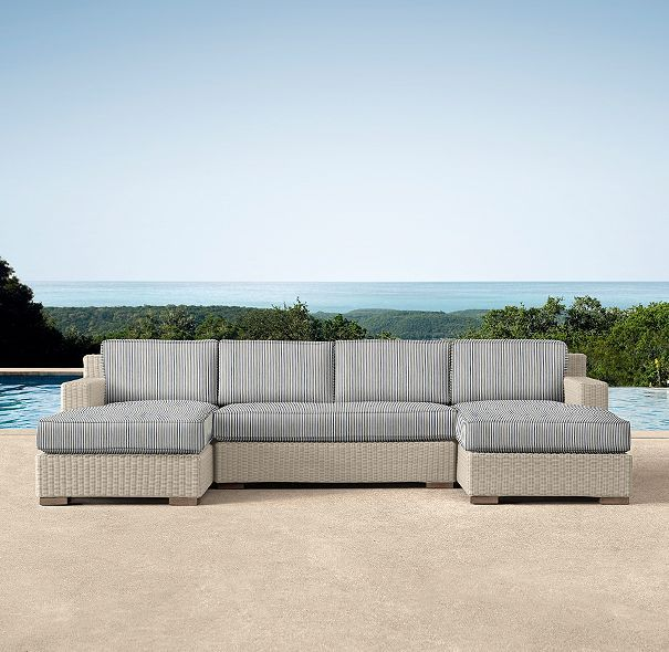 Biscayne Luxe U-Chaise Sectional  - with navy portofino ticking stripe