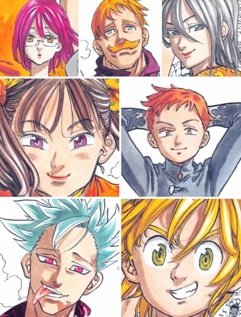 """Gowther, Escanor, Merlín, Diane, King, Ban and Meliodas.  """"Everthing, anything, to save this world! Everything an anything to protect those they love! The Seven Heroes have all assembled here!!"""""""