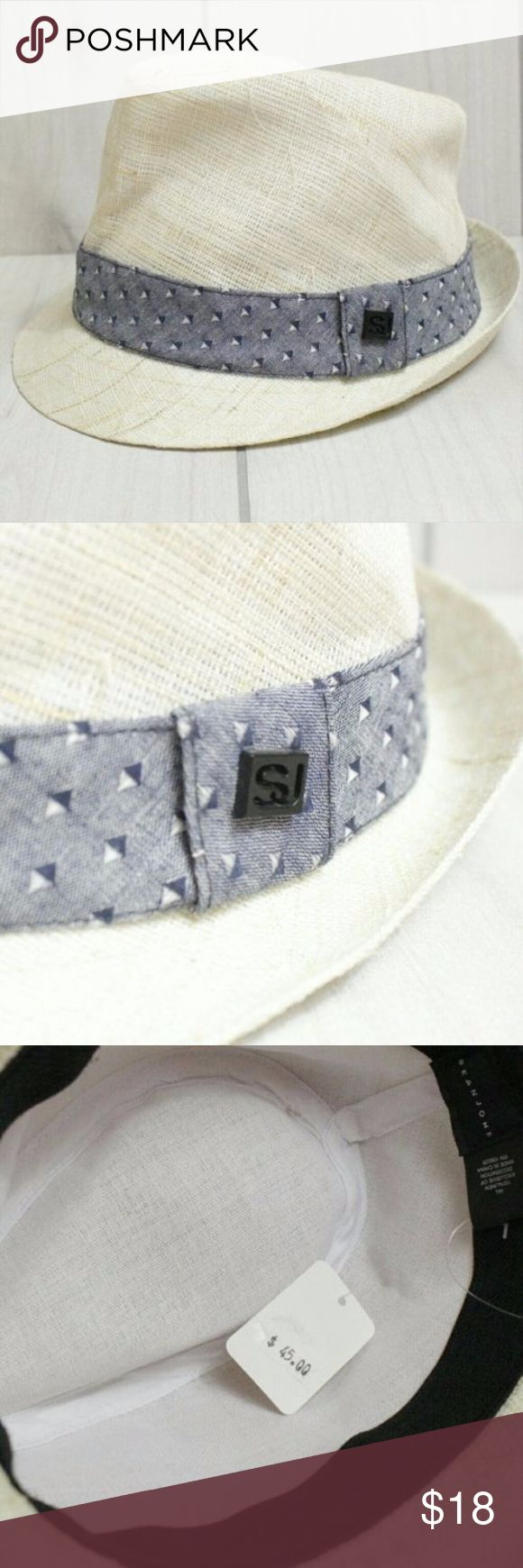 """Sean John Fedora Summer Hat Banded Mens Beach Hat Men's Casual Summer Fedora Hat Size M/L Please see measurements. This is new with tag.   100% Linen   Size M/L suitable for head circumference 22-22.75"""" Sean John Accessories Hats"""