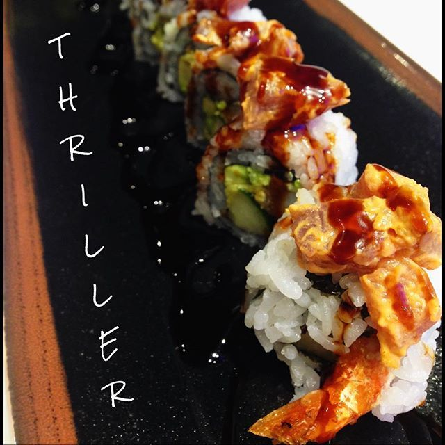 Come try the Thriller sushi roll, featuring pacific shrimp tempura, avocado, and cucumber, topped with spicy tuna and tempura bits- yum! #burgushi #yycfood #yyceats #yycdrinks #yycfoodies #foodies #yyc #nomnom #yycfoodjunkie #burgers #sushi #instafood #goodeats #delicious #yyclunch  #datenightyyc #iamdowntown #cleaneating #food #foodporn #foodgasm #fusion #fitness #healthyliving #eatlocal #downtownyyc #organic