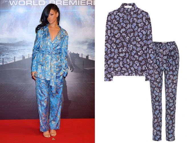 Rihanna è una trendsetter: per calcare il tappeto rosso al posto del classico abito da principessa sceglie un due pezzi in seta stampata firmato Pucci. Scegli l'alternativa firmata Stella McCartney in vendita qui