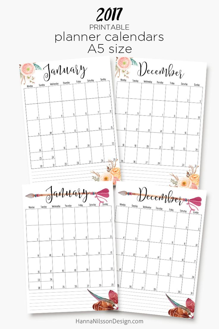 2017 – printable A5 planner calendars – Hanna Nilsson Design  --------------  Planner decorating, ideas, supplies, Erin Condren, DIY, washi, printables, filofax, layout, happy, stickers, for beginners, Kikki K, school, themes, Kate Spade, life, inspiration, weekly, stamps, personal, tips, videos, simple, kit, monthly, free, christmas, cheap, bullet journal, track, note, to get, organization, shopping list, how to make, menu planning, pockets, posts, budget