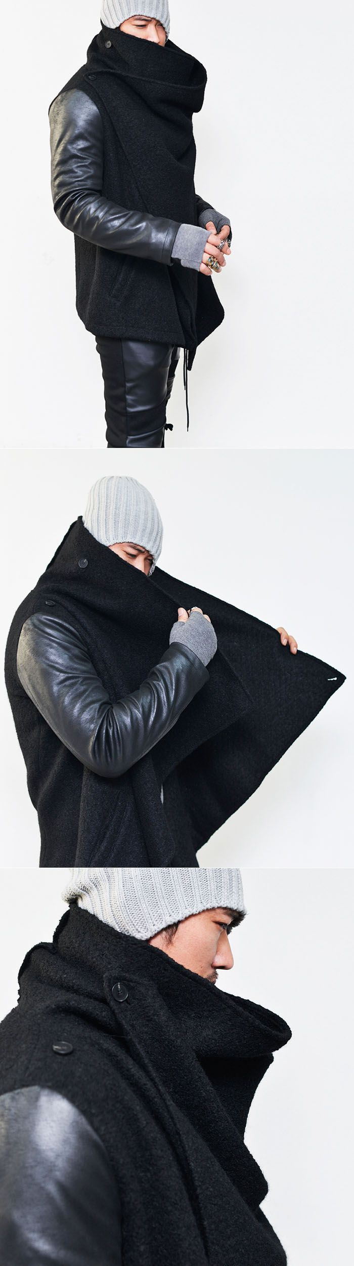 Outerwear :: Unbalance Double Turtle Shirring Leather Sleeve-Jacket 127 - Mens Fashion Clothing For An Attractive Guy Look
