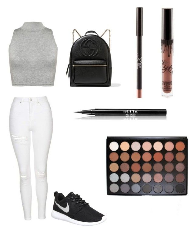 """""""Day out"""" by ashleycagauan on Polyvore featuring Topshop, WearAll, NIKE, Gucci, Stila and Morphe"""