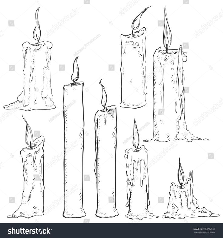 Vector Set of Different Sketch Candles
