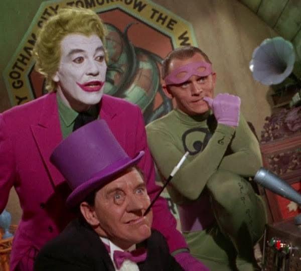 Three Batman greats: The Joker, The Penguin and The Riddler. Cesar Romero…